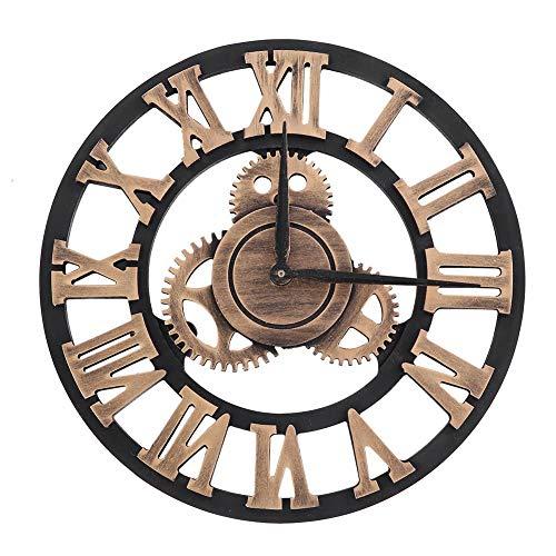 EBTOOLS Horloge Murale Pendule Murale Chiffres Romains 3D Roue Dentée Style Vintage Horloge Murale en Bois Industriel Decoration pour Salon Cuisine Chambre Diamètre 30/58/80 cm aux Choix(30cm-Cuivre)