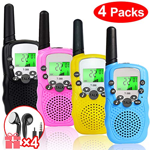 iGeeKid 4 Pack Walkie Talkies for Kids, 22 Channels 2 Way Radio Kids Toy Walkie Talkies [Gift 4 earpieces] 3 Mile Long Range with Flashlight Outdoor Games Easter Gifts 3-12 Years Boy Girls