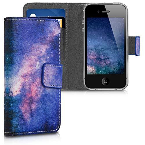 Preisvergleich Produktbild kwmobile Apple iPhone 4 / 4S Hülle - Kunstleder Wallet Case für Apple iPhone 4 / 4S mit Kartenfächern und Stand - Galaxie Sterne Design Rosa Pink Dunkelblau