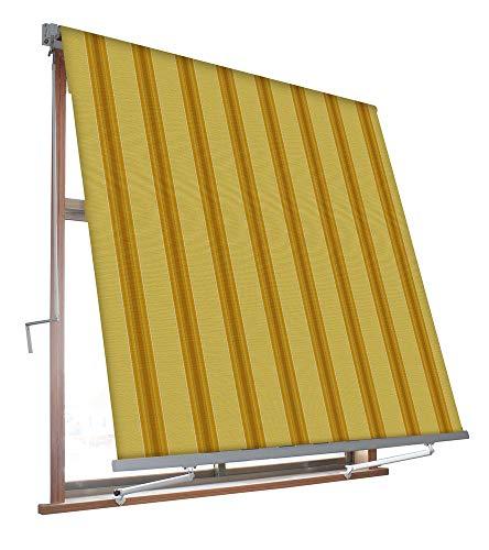 VERDELOOK Tenda da Sole Milos a Caduta avvolgibile con Braccetti 80 cm per ancoraggio, larghezza 3 m e altezza 2,45 m, beige e ocra
