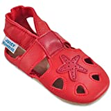Sandalias Niña - Zapatos Bebe Niña - Zapatos Niña de Piel Suave - Estrella Roja - 12-18 Meses
