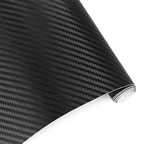 Rouleau de film vinyle autocollant noir 127 x 50 cm imitation fibres de carbone en relief - Pour décoration de voiture