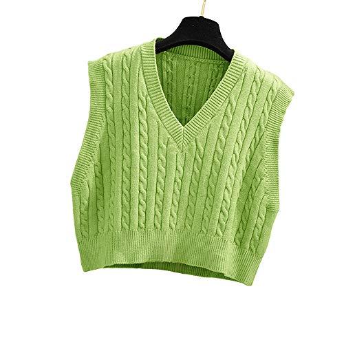 Lailezou Women's V-Neck Knit Sweater Vest Solid Color Argyle Plaid Preppy Style Sleeveless Crop Knit Vest Green