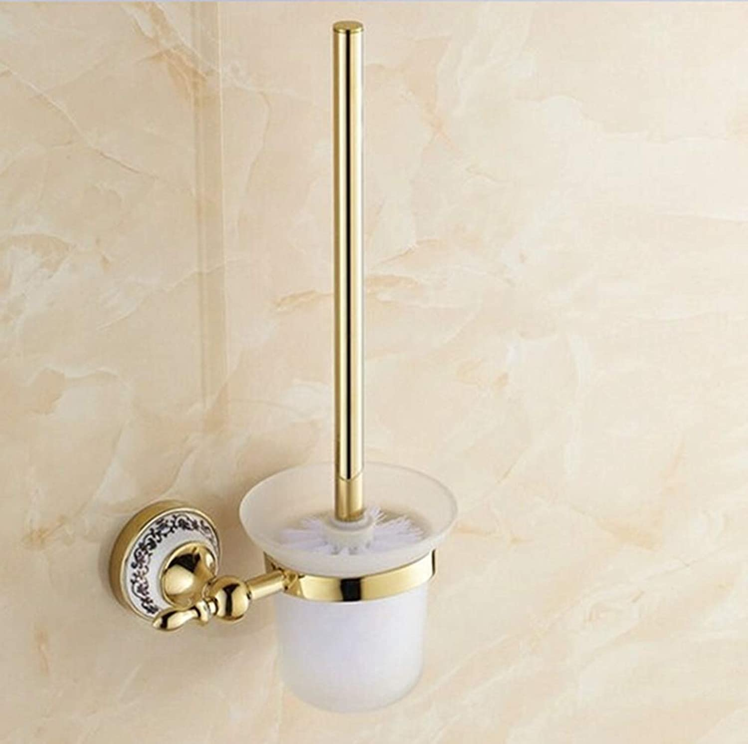 LUDSUY Bathroom Accessories gold Toilet Brush Holder,Stainless Steel Construction Base Porcelain Decorative+Frosted Glass Cup,Bathroom Accessories