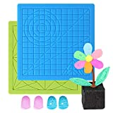 Pack of 2 Comgrow 3D Printing Pen Silicone Mat Kits with 4 Silicone Finger Caps, 3D Drawing Pen Pad Basic Template Mat Tool for Beginners and Children