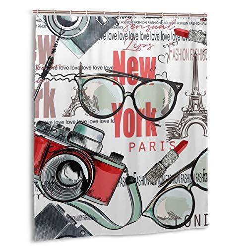 Duschvorhang,Mode Vektormuster Lippenstift,Kamera,Brille,Worte New York Stoff Badezimmer Dekor Set mit Haken 150cmx180cm