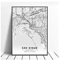 kldfig サンディエゴ市地図キャンバス絵画プリントアートポスターオフィス装飾用-50x70cmフレームなし