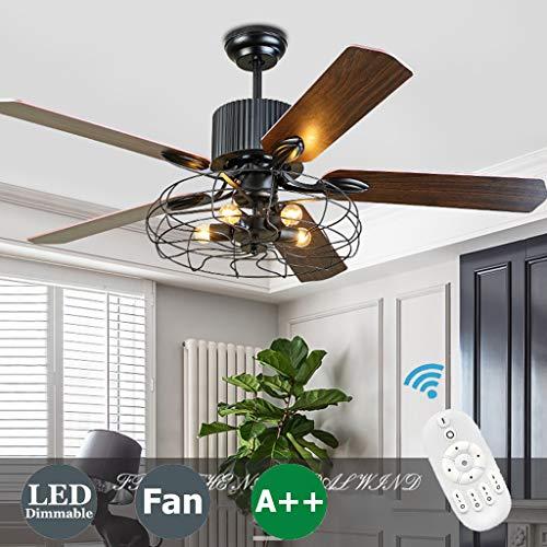 Deckenventilator Mit Beleuchtung Und Fernbedienung Leise Modern LED Windgeschwindigkeit Dimmbar Retro Industrie Hängeleuchte Schlafzimmer Wohnzimmer Kinderzimmer Unsichtbare Ventilator Deckenleuchte
