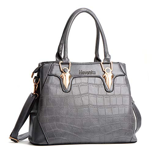 Nevenka Women's Handbags PU Leather Ladies Tote Bags with Adjustable Shoulder Strap for Daily Use Shopping Travel (Grey)