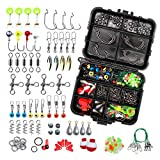 218PCS Fishing Accessories Kit with Tackle Box, Fishing Equipment Including Sinker Weights, Jig Hooks, Sinker Slides, Swivel Snap, Fishing Bobbers Float, Saltwater Freshwater Fishing Gear (color)