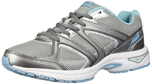 Avia Women's Avi-Execute II Running Shoe, Chrome Silver/Metallic Grey/Topaz Blue, 10 W US