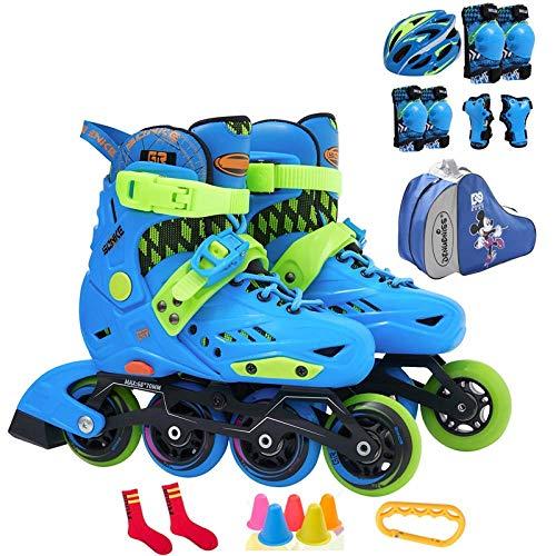 Botas de Skate de Cuatro Ruedas con Ruedas Ajustables para niños Adultos Niños Niñas 4 Ruedas, Azul-L L 35-38 -set3