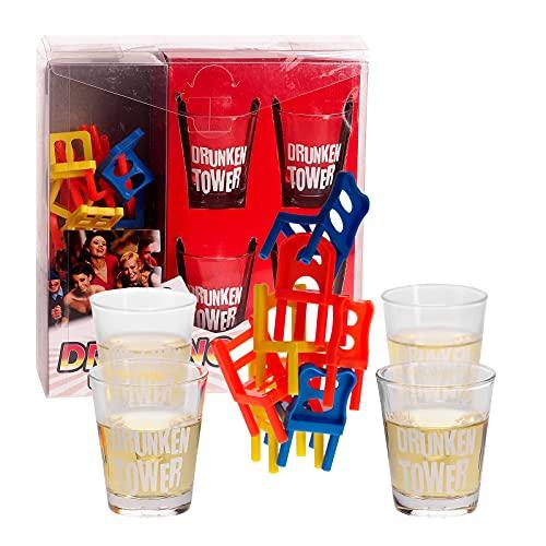 Smart Planet Juego de beber para fiestas – Drunken Torre – Juego de mesa apilable – Juego de fiesta incluye 4 vasos de chupito de cristal para fiestas de cumpleaños