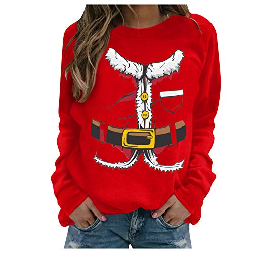 EuCoo Women's Chirstmas Santa Clothes Print Long-sleeved Sweatshirt Casual Blouse Pullover(Red,L)