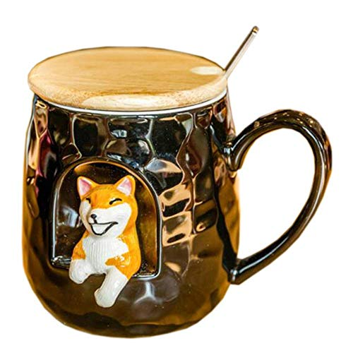 YZ-YUAN Exquisite Stereoscopic Animal Mug, Ceramic Milk Cup, With Wooden Lid And Stainless Steel Spoon, 400ml For Household (Color : Dog)