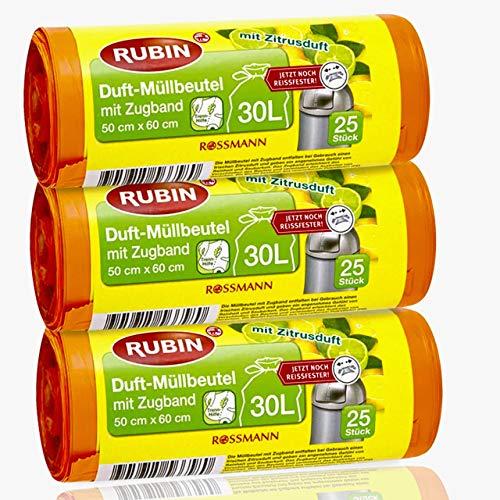 Rubin Duft-Müllbeutel - 30 Liter - recycelbar mit Zugband & besonders reißfest - 75 Stück - 3er Pack - (3 x 25 Stück)