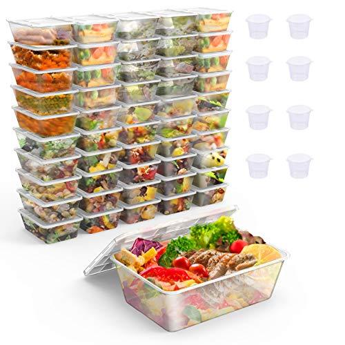 Gifort 50PACK Conteneurs de préparation de Repas avec couvercles, boîte à Lunch réutilisable, Compatibles Micro-Ondes/Lave-Vaisselle/congélateur,Empilable + 8 Tasses à Sauce et 8 cuillères