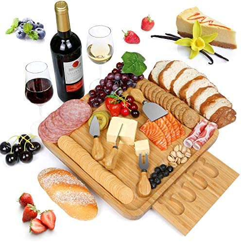 NUOLAN Bamboo Cheese Board with Stainless Steel Knife Set Cheese Plate for Wine Crackers Brie product image