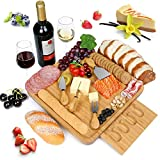 NUOLAN Bamboo Cheese Board with Stainless Steel Knife Set Cheese Plate for Wine, Crackers, Brie and Meat Perfect Charcuterie Platter Serving Tray for Entertaining or Gift Giving(CP-001)