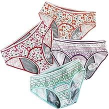 4 Pack Teen Girls Protective Panties Leak Proof Underwear Heavy Flow Women Postpartum Briefs (GEGP+BTRO, S)