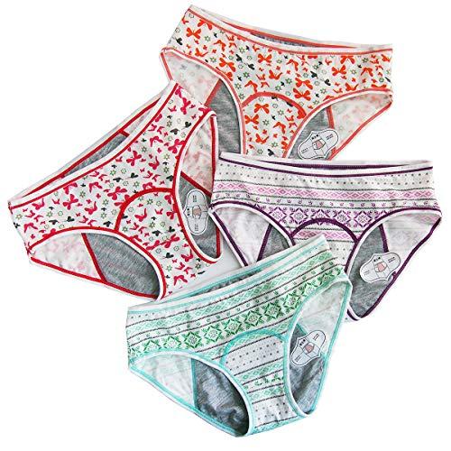 4 Pack Cotton Teen Girls Period Panties Leak Proof Menstral Underwear Women Heavy Flow Briefs (GEGP+BTRO, S)