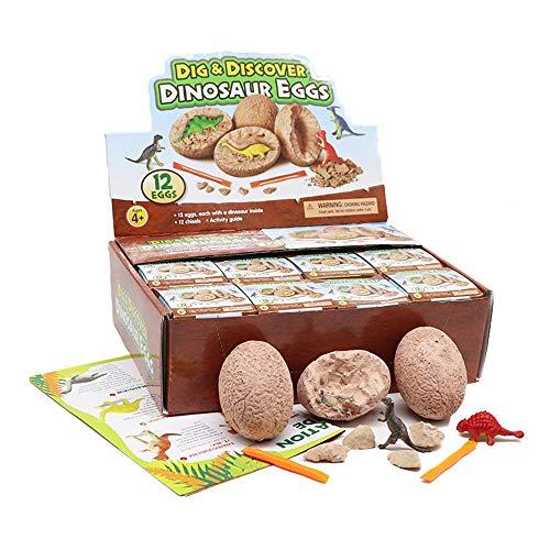 JoaSinc Huevos de Dinosaurio para niños, Kit de excavación de Huevos de Dinosaurio, 12 Huevos únicos de Dinosaurios, Juguetes educativos para Aprender Huevos de Dino, Regalos de para niños y niñas