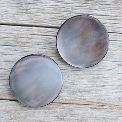 【シンプル丸型ボタン】黒蝶貝 貝ボタン#bt023 1穴 25mm 2個セット