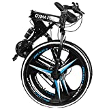 Glumes Folding Mountain Bike 26in 21 Speed Bicycle 3 Spoke Wheels Full Suspension MTB Bikes Double Disc Brake Bicycle for Adult Teens,Ship from US