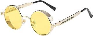 BOZEVON Punk Round Sunglasses - Classical Metal Cycling Retro Sunglasses For Women & Men