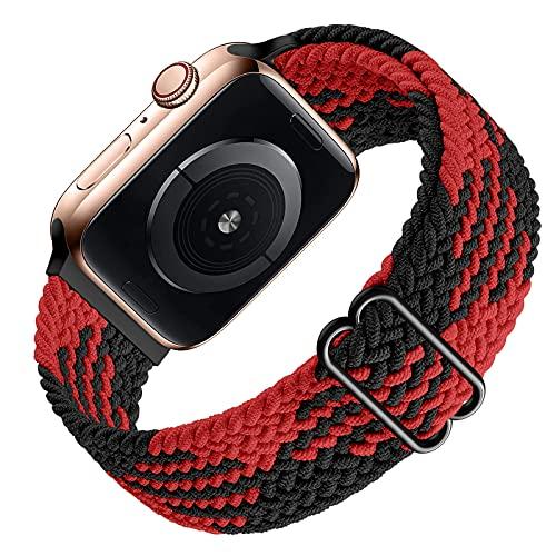 Ouwegaga Braided Solo Loop Compatible con Apple Watch Correa 38mm 40mm 42mm 44mm, Repuesto Deportiva de Nailon Elástico Correa para iWatch Correa Series 6/SE/ 5/4/3/2/1, 42mm/44mm Negro Rojo(Patented)
