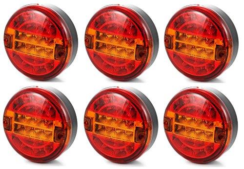 6x 24V hamburger universel LED Feu arrière Feux lamps Châssis Camion Remorque tracteur