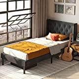 LIKIMIO Twin Size Bed Frame, Modern Platform Bed Frame Twin with Upholstered Headboard and Strong Wooden Slats/Mattress Foundation/Easy Assembly, Dark Grey