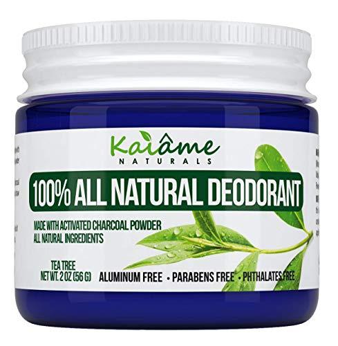 Kaiame Naturals mejor desodorante natural (árbol de té) con polvo de carbón activado, todos los ingredientes naturales y orgánicos, sin aluminio, sin parabenos, sin ftalatos