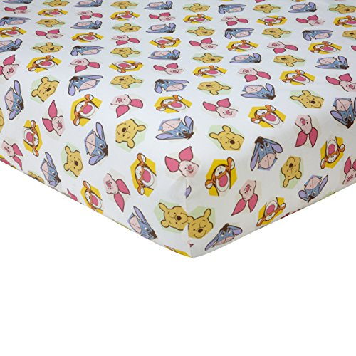 Disney Winnie the Peeking Pooh 100% Cotton Fitted Crib Sheet, Yellow/Blue/Green