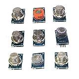 HUABAN 1パックの合計9枚 MQ-2 MQ-3 MQ-4 MQ-5 MQ-6 MQ-7 MQ-8 MQ-9 MQ-135ガスセンサーモジュールスターターキット