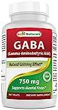 Best Naturals GABA Supplement 750mg 180 Veggie Capsules, Naturals Sleep Aid