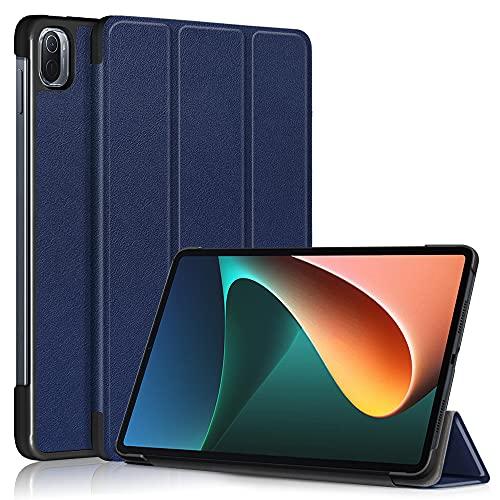 Funda para Xiaomi Pad 5 / Xiaomi Pad 5 Pro 2021 de 11 pulgadas, cuero premium delgado ligero con apagado automático / Wake up Hard Trifold Stand Cover (azul oscuro)