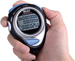 CXQWAN Stor stoppur, professionell digital handhållen stoppur 80 varv minne tre rader sporträknare timer professionell fri...