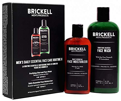 Brickell Men's Daily Essential Face Care Routine II, Purifying Charcoal Face Wash and Daily Essential Face Moisturizer, Natural and Organic, Unscented