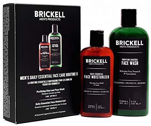 Brickell - Cuidado facial diario esencial para hombre, rutina II, lavado facial de carbón purificante y crema hidratante facial esencial diario, natural y orgánico, sin perfume