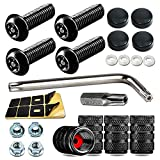 Black License Plate Screws- Anti Theft Screws for Fastening Front / Rear Car Tag Frame Holder, Stainless Steel Plate Mounting Hardware Kit- M6(1/4