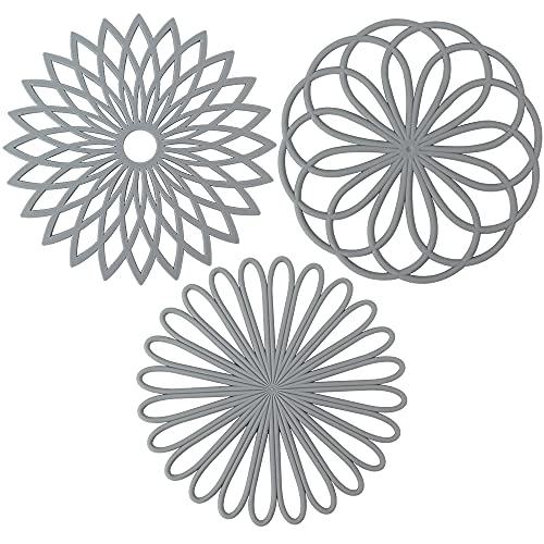 QWEF Silikon-Untersetzermatte,Silikon-Untersetzer Silikon Multi Blume Topfuntersetzer Mehrzweck Flexible Langlebige rutschfeste Hot Pads 3er-Set (Grau)