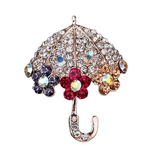 Kanggest Broche para Mujer Creativa Moda Rhinestone Paraguas Broche Pin Elegante Broches para Ropa Bufanda Vestidos