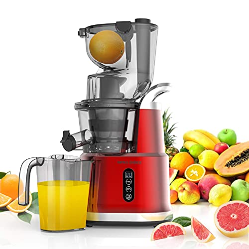 Slow Masticating Juicer, Slow Juicer with 3.2 Big Feed Chute for Whole Fruits Vegetables, Easy to Clean Cold Press Juicer Machine with 900 ml Juice Cup, Juicer Extractor BPA-Free