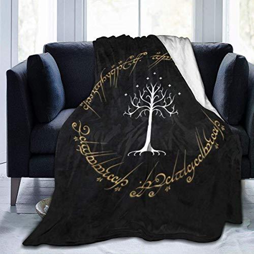 GOSMAO Batamanta Polar Suave y Acogedor Manta de Forro Polar a Cuadros de Cama y Sofa Señor Anillos 127X102 cm