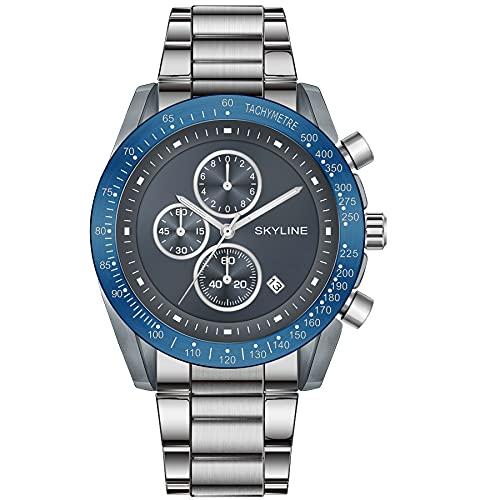 SKYLINE Reloj Hombre Cronografo, Reloj Pulsera de Acero Inoxidable, 3 ATM, Movimiento Cuarzo Jápones, Elegante para Uso Diario