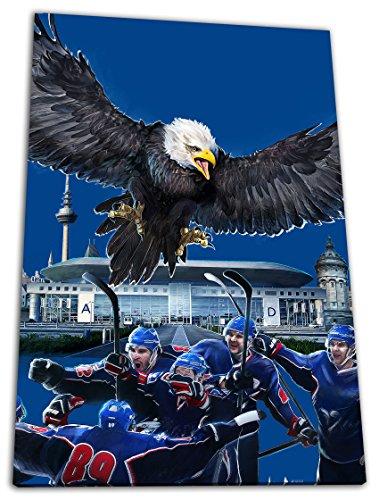 Mannheim Eishockey, Fan Artikel Leinwandbild, Größe: 120x80cm, Auf Holzrahmen gespannt, Kein Poster oder billig Plakat, Must Have für echte Fans