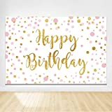 Felizotos White Pink Gold Polka Dots Happy Birthday Background Glitter Shiny Birthday Party Backdrops Teens Kids Photography Studio Cake Table Banner Decorations 6x4ft