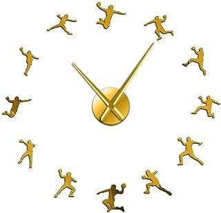 fxtdtt Patrón de Balonmano Reloj de Pared DIY sin Marco Reloj Grande entusiastas del Deporte Entrenador de Balonmano Mejor Regalo(Oro)