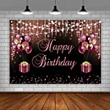 Black and Red Happy Birthday Backdrop Sweet 16 Rose Gold Balloons and Gift Box Glitter Dots Birthday Background Happy Birthday Party Decorations for Any Age Women Photo Booth Props 5x3ft